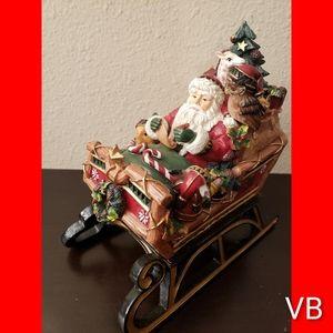 Fitz & Floyd Santa Sleigh Music Box Christmas Deco